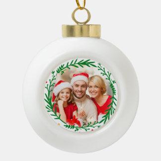 Moderne Weihnachtswreath-Foto-Weihnachtsverzierung Keramik Kugel-Ornament