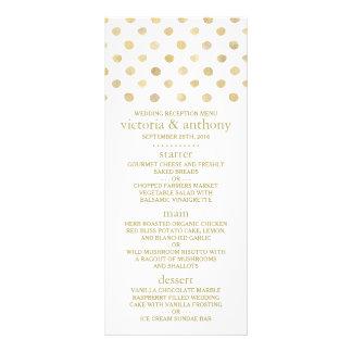 Moderne Weiß-u. GoldTupfen, die Menü Wedding sind 12,2 X 22,9 Cm Kartendruck