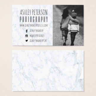 Moderne weiße Marmormediumphotographie Visitenkarte
