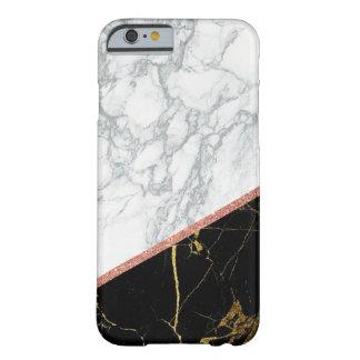 Moderne weiße schwarze rosa Glittermarmorierungart Barely There iPhone 6 Hülle