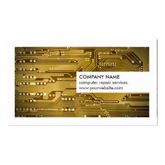 Moderne weißes Goldleiterplatte-Computer-Reparatur Visitenkarten