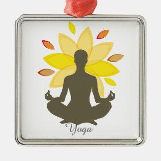 Moderne Yoga-Illustrations-Lotos-Pose Silbernes Ornament