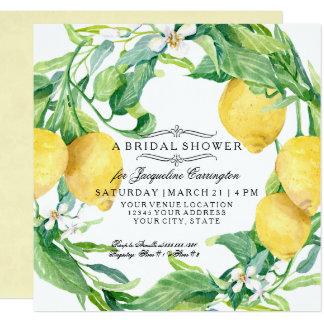 Moderne Zitronen-BlumenBlumewreath-Brautparty Quadratische 13,3 Cm Einladungskarte
