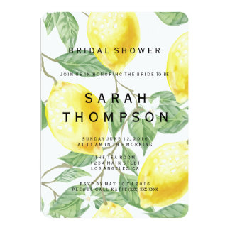 Moderne Zitronen-Brautparty-Einladung Karte