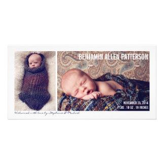 Moderne zwei Foto-Baby-Jungen-Geburts-Mitteilung Foto Grußkarte