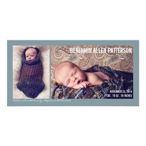 Moderne zwei Foto-Baby-Jungen-Geburts-Mitteilung Fotokarten