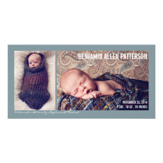 Moderne zwei Foto-Baby-Jungen-Geburts-Mitteilung Individuelle Photo Karten