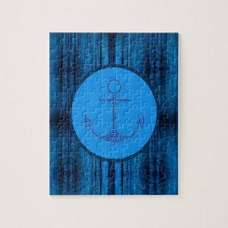 moderner abstrakter blaue Streifen nautischanker Puzzle