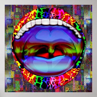 Moderner abstrakter offener Mund Plakat