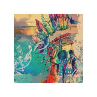 Moderner abstrakter Regenbogen-Hauptschädeldruck Holzwanddeko
