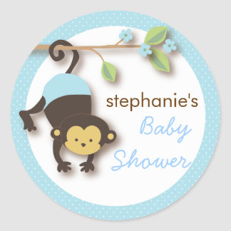 Moderner Affe-süße Jungen-Babyparty im Blau Runder Aufkleber