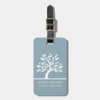 Moderner blauer eleganter nobler Baum-Yoga-Lehrer Kofferanhänger