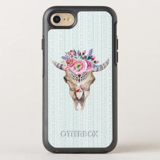 Moderner BlumenAquarell-Stier-Schädel OtterBox Symmetry iPhone 8/7 Hülle