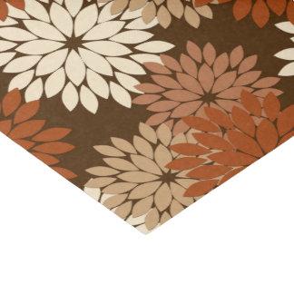 Moderner BlumenKimono-Druck, dunkles Brown und TAN Seidenpapier