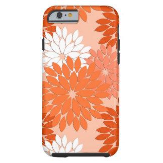 Moderner BlumenKimono-Druck, korallenrote Orange Tough iPhone 6 Hülle