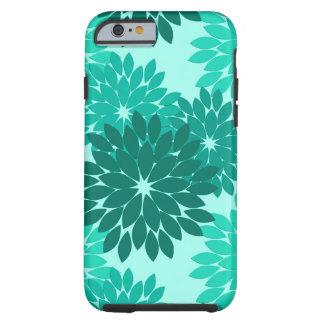 Moderner Blumenkimono-Druck, Türkis, aquamarines Tough iPhone 6 Hülle