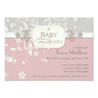 Moderner Blumenstrudel blühen Klammer-Baby-Dusche 12,7 X 17,8 Cm Einladungskarte