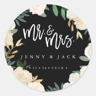 Moderner botanischer Herr und Frau Wedding Sticker