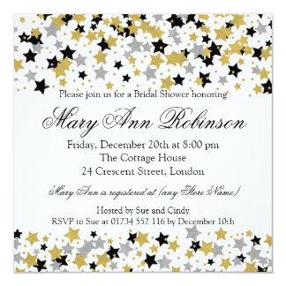 Moderner Brautparty-GoldGlitter hat Confetti in Quadratische 13,3 Cm Einladungskarte