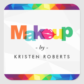Moderner bunter Typografie-LippenMaskenbildner Quadratischer Aufkleber
