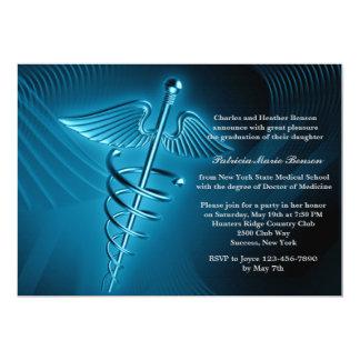 Moderner Caduceus-medizinische SchulAbschluss 12,7 X 17,8 Cm Einladungskarte