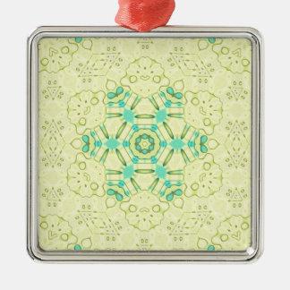 Moderner Chic-Gelb-Hintergrund mit aquamarinem Quadratisches Silberfarbenes Ornament