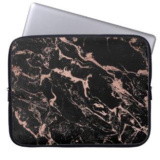 Moderner Chic-Imitat-Rosen-Goldfolienschwarzmarmor Laptop Sleeve