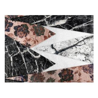 Moderner Chic-Schwarz-weißer Marmor und Rosen-Gold Postkarte