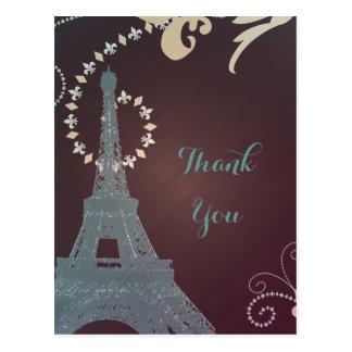 moderner Eiffel-Turm Vintages Paris danken Ihnen Postkarten