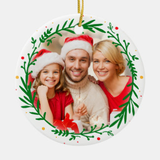Moderner eleganter Familien-Foto-WeihnachtsWreath Keramik Ornament