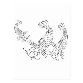 Moderner Entwurf Koi Fische Schwarz-weiß Postkarte