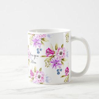 Moderner flüchtiger Blumendruck Kaffeetasse