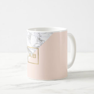 Moderner geometrischer Marmor/rosa Monogramm-Logo Kaffeetasse
