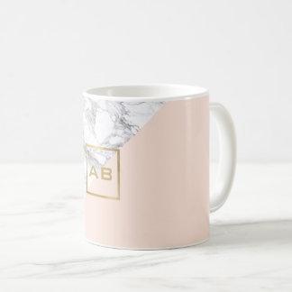 Moderner geometrischer Marmor/rosa Monogramm-Logo Tasse