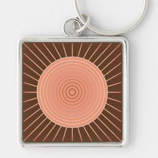 Moderner geometrischer Sonnendurchbruch - Pfirsich Schlüsselanhänger