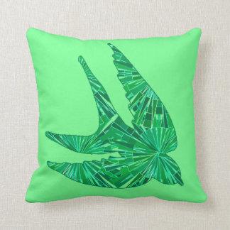 Moderner geometrischer Vogel, Jade und Smaragdgrün Kissen