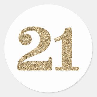 Moderner Glitter des Goldes 21 der GROSSEN Runder Aufkleber