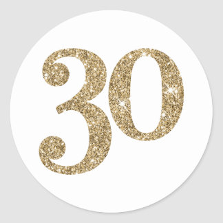 Moderner Glitter des Goldes 30 der GROSSEN Runder Aufkleber