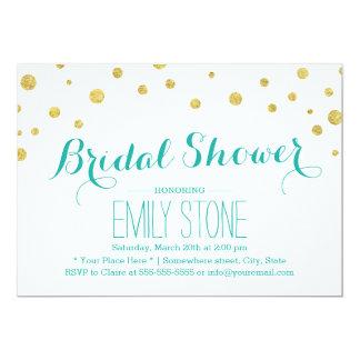 Moderner GoldGlitterConfetti punktiert Brautparty 12,7 X 17,8 Cm Einladungskarte