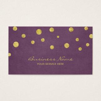 Moderner GoldGlitterConfetti punktiert Veilchen Visitenkarte