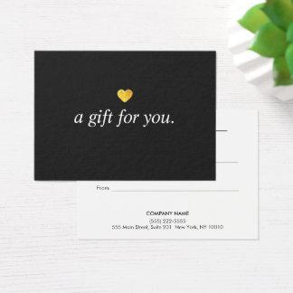 Moderner Goldherz-Kunden-Geschenkgutschein Visitenkarte