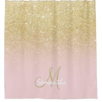 Moderner Goldombre weich Rosablock personalisiert Duschvorhang