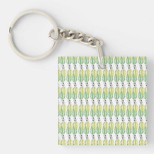 Moderner grüner Blätter-Strudel Schlüsselanhänger