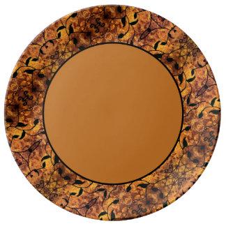 Moderner Herbst verlässt Silhouette-Muster Porzellanteller