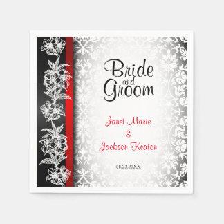 Moderner Hochzeits-Damast im Weiß, im Schwarzen Papierserviette