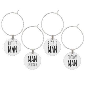 Moderner Hochzeits-Mann-Wein-Charme Glasmarker