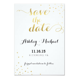 Moderner Imitat-Goldfolien-Glamour Save the Date Karte