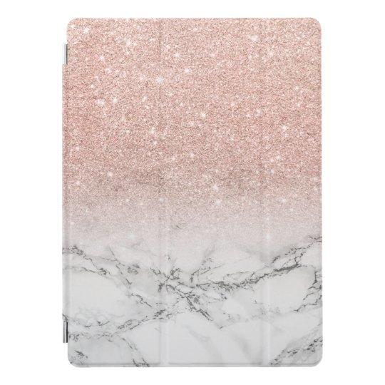 Moderner Imitat-Rosenrosa-Glitter ombre Weißmarmor iPad Pro Hülle