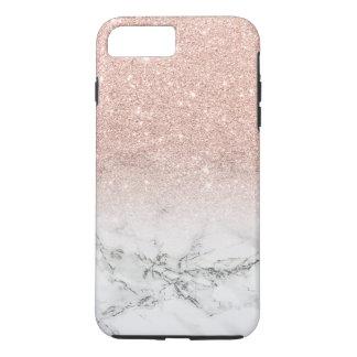 Moderner Imitat-Rosenrosa-Glitter ombre Weißmarmor iPhone 8 Plus/7 Plus Hülle