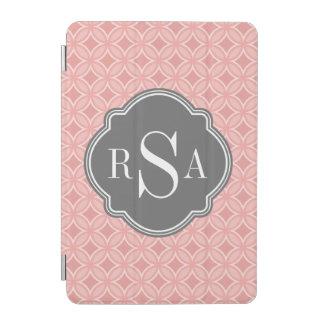 Moderner Kreis erröten rosa graues Monogramm iPad Mini Hülle
